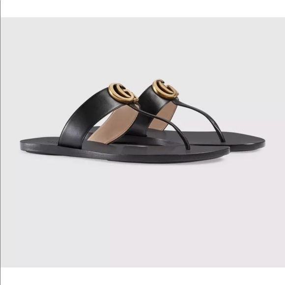b9f6cbda0873 Gucci Shoes - Gucci Marmont GG Black T-Strap Sandals 40 10